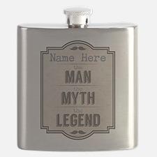 Personalized Man Myth Legend Flask
