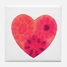 Red tye dye heart Tile Coaster