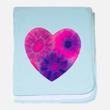 Pink tye dye heart baby blanket