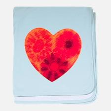 Orange tye dye heart baby blanket