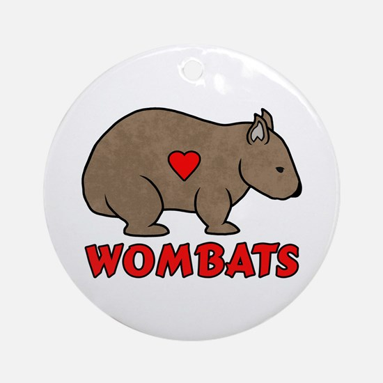 Wombat With A Heart Round Ornament
