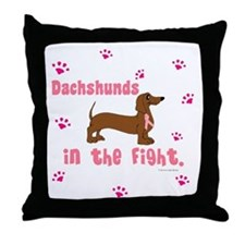 Dachshunds In The Fight (BC) Throw Pillow