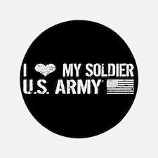 U.S. Army: I Love My Soldier (Black) Button
