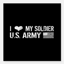 U.S. Army: I Love My Soldier (Black) Square Car Ma