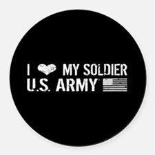 U.S. Army: I Love My Soldier (Black) Round Car Mag