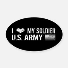 U.S. Army: I Love My Soldier (Black) Oval Car Magn
