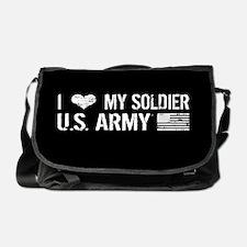U.S. Army: I Love My Soldier (Black) Messenger Bag