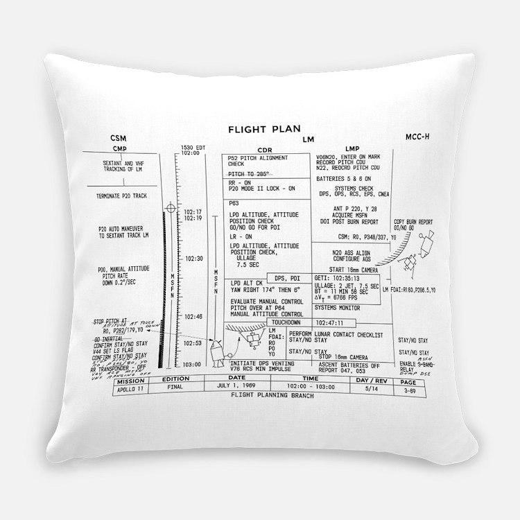 Apollo 11 Flight Plan Everyday Pillow