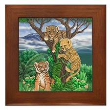 Jungle Kittens Framed Tile