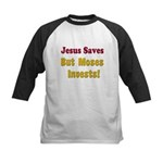 Jesus Saves but Moses Invests Kids Baseball Jersey
