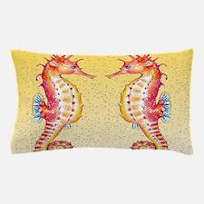 Red Seahorses Bubbles Pillow Case