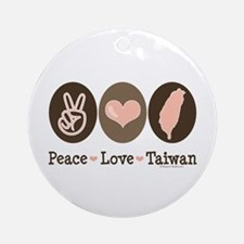 Peace Love Taiwan Ornament (Round)