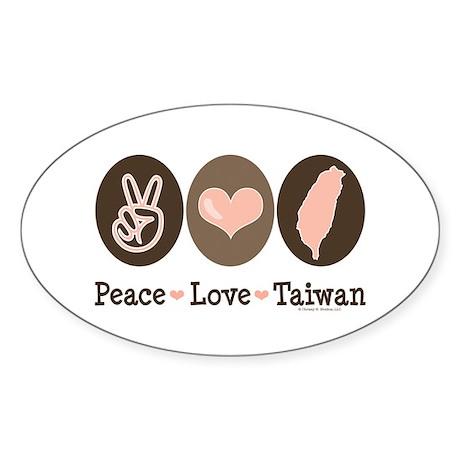 Peace Love Taiwan Oval Sticker