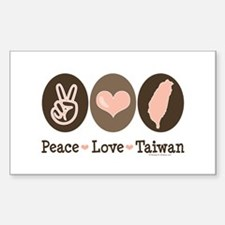 Peace Love Taiwan Rectangle Decal