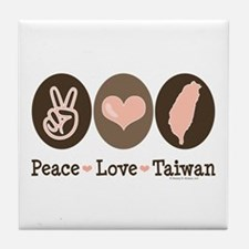 Peace Love Taiwan Tile Coaster