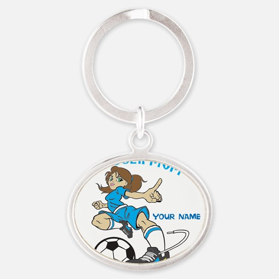 PERSONALIZED SOCCER MOM Oval Keychain