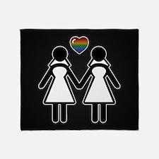Mrs. & Mrs. Lesbian Pride Brides Throw Blanket