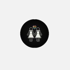 Mrs. & Mrs. Lesbian Pride Br Mini Button (10 pack)