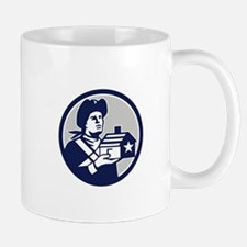 American Patriot Holding House Circle Retro Mugs