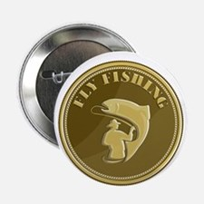 "Fly Fishing Gold Coin Retro 2.25"" Button (10 pack)"