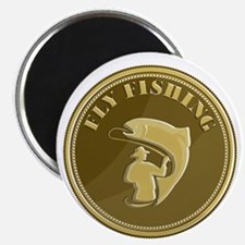 Fly Fishing Gold Coin Retro Magnets