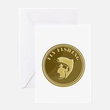 Fly Fishing Gold Coin Retro Greeting Cards