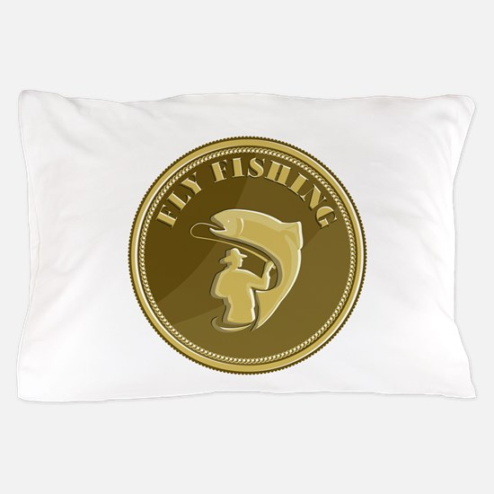 Fly Fishing Gold Coin Retro Pillow Case