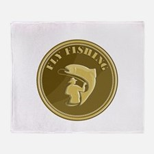 Fly Fishing Gold Coin Retro Throw Blanket