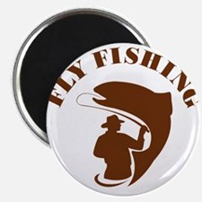 Trout Fly Fishing Isolated Retro Magnets