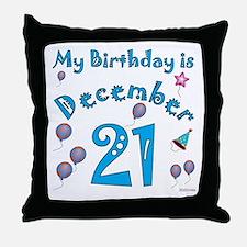 December 21st Birthday Throw Pillow