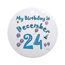 December 24th Birthday Ornament (Round)
