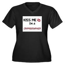 Kiss Me I'm a CRYPTOGRAPHER Women's Plus Size V-Ne