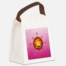 Sailboat And Compass On Pink Canvas Lunch Bag