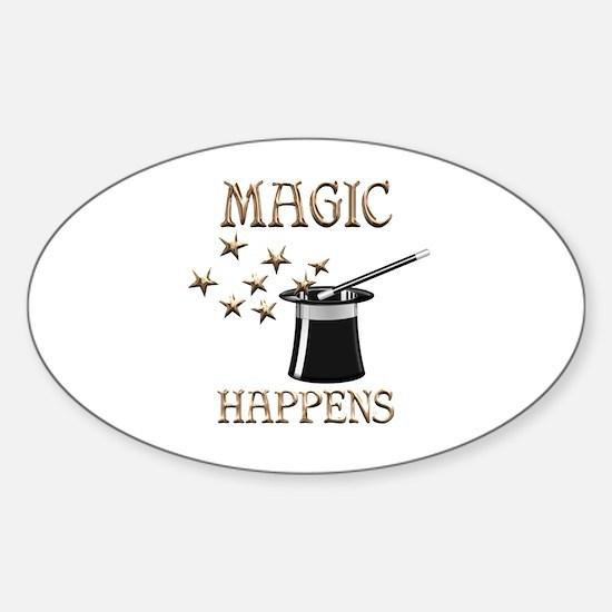 Magic Happens Sticker (Oval)