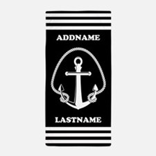 Black Anchor Stripes Personalized Beach Towel