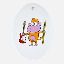 Cute Monkey guitar Oval Ornament
