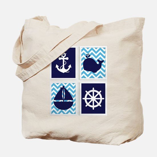 NAUTICAL IMAGES ON BLUE CHEVRON Tote Bag