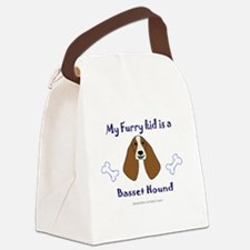 Funny Basset hound mom Canvas Lunch Bag