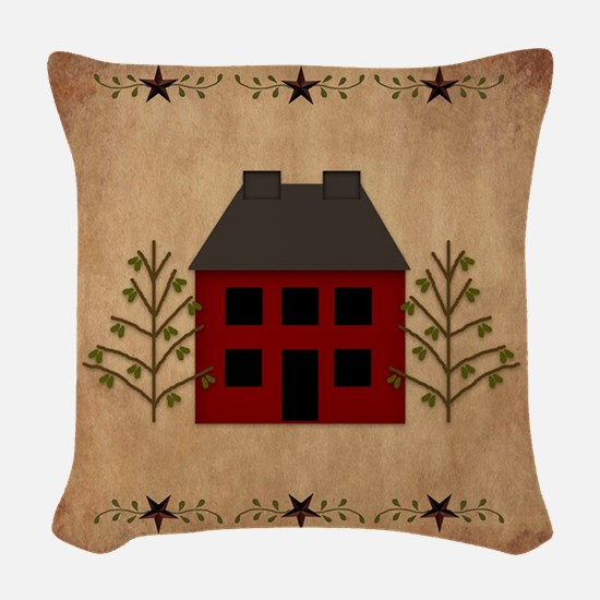 Primitive House Woven Throw Pillow