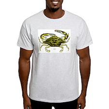 Blue Crab (Front) Ash Grey T-Shirt