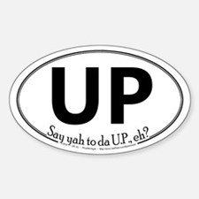 Up White Oval Decal