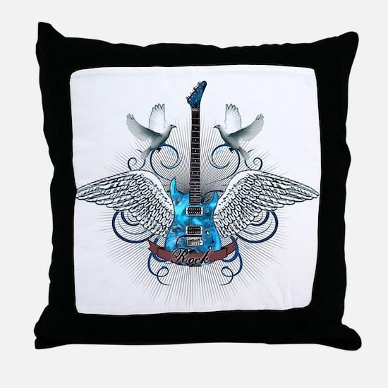 Cute Blue guitar Throw Pillow