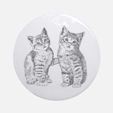 Two Tabby kittens Round Ornament