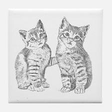Two Tabby kittens Tile Coaster