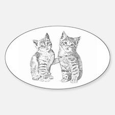 Two Tabby kittens Sticker (Oval)