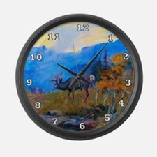Deer Grazing Large Wall Clock