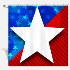 Giant Star Red White and Blue Shower Curtain