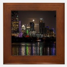Austin Texas Skyline Full Moon Framed Tile
