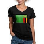 Zambia Women's V-Neck Dark T-Shirt