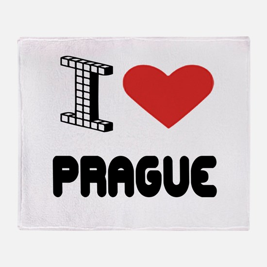 I Love Prague City Throw Blanket